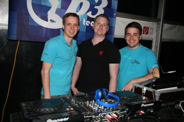 Manuel Poschmaier, Christoph Pokorny und Philipp Breitner beschallten mit rund 10 000 Watt Musikleistung als p3 dj Team den Main Floor