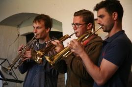 Markus Eder, Kevin Luger und Hannes Pickl (von links) sorgten für die musikalische Umrahmung der Vernissage