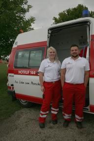 Patrizia Gattinger und Patrick Nussbaumer waren die Rotkreuz-Betreuer des Sporttages