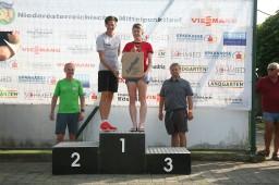 Für die Tagesschnellste, Angela Hintermaier (3. von links), gab es zusätzlich noch einen Gutscheinkorb vom Laufshop Lauflupe